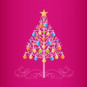 Decorated colorful christmas tree  with baubles  and flourish at  the base  poster