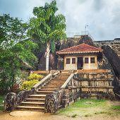 Isurumuniya Viharaya in the sacred world heritage city of Anuradhapura, Sri Lanka. Panorama poster