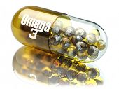 Pill with Omega 3  element. Dietary supplements. Vitamin capsules. 3d poster