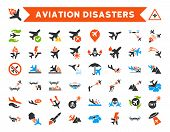 Aviation Disasters Glyph Icon Set. Here are airplane crashes, terror drones, military attacks, plane tests. poster