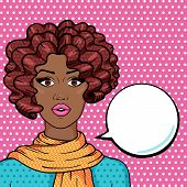 Vector afro girl thinking with space for your text pop art comic style illustration. Cartoon african american girl in scarf on pink background. poster