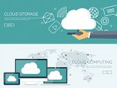 Vector illustration. Flat cloud computing background. Data storage network technology. Multimedia content and web sites hosting. Memory and information transfer. poster