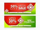 Glossy website header or banner set of Mega Sale with fantastic discount offer for Happy Holidays celebration. poster