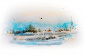 Watercolor Sketch Of Winter Landscape.