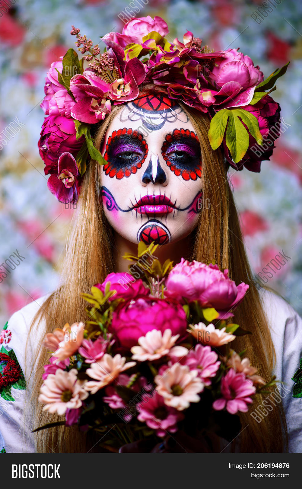 88cdce809 Dia de los muertos. Day of The Dead. Woman with sugar skull makeup on