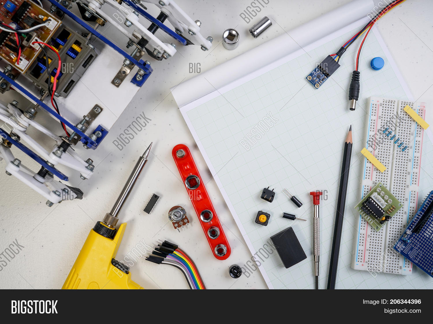 Stem Diy Electronic Image Photo Free Trial Bigstock Build Circuit Or Kit Line Tracking Walking Robot Competition Ideas Engineer