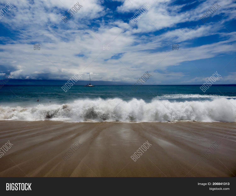Crashing Waves Boat Image Photo Free Trial Bigstock