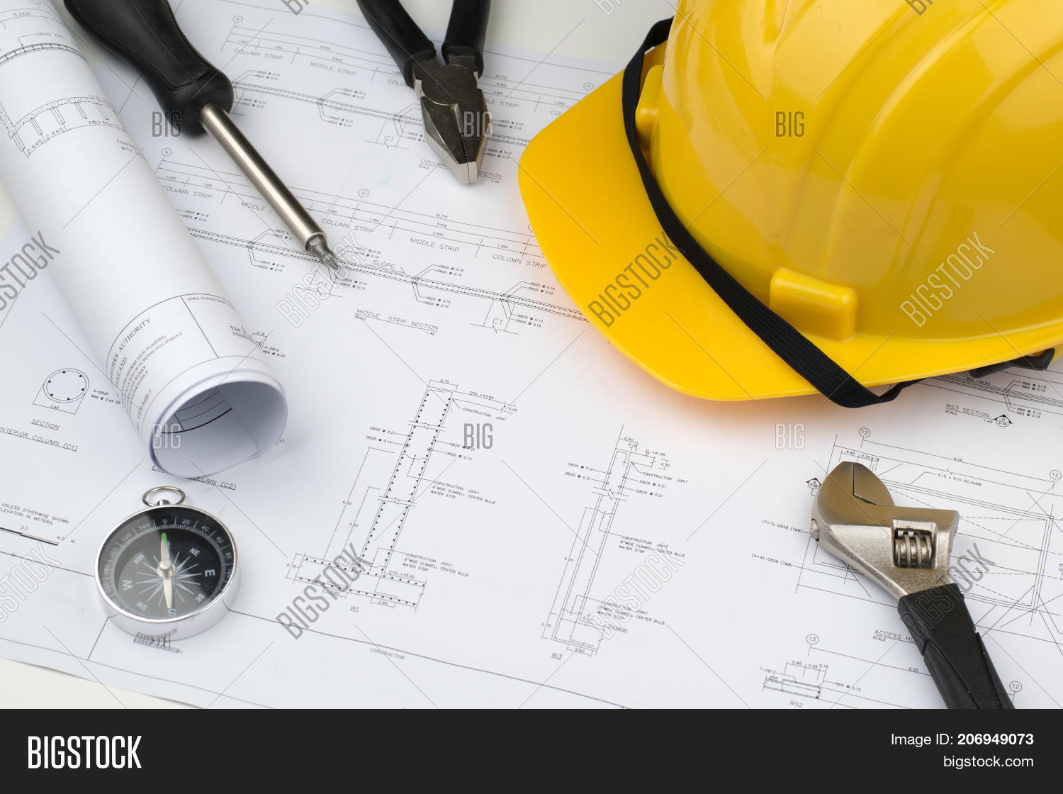 Engineer construction business work image photo bigstock engineer construction business work concept engineering blueprint diagrams paper drafting and industrial equipment technical tools malvernweather Gallery
