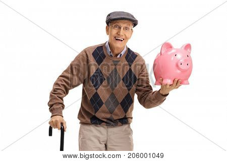 Cheerful senior with a piggybank and a cane isolated on white background