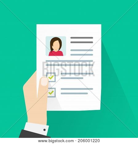 Personal information on paper sheet vector illustration, idea of cv or curriculum vitae document in hand, person reviewing resume, interview concept, profile data
