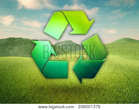 Recycling symbol in a green meadow. 3D illustration.