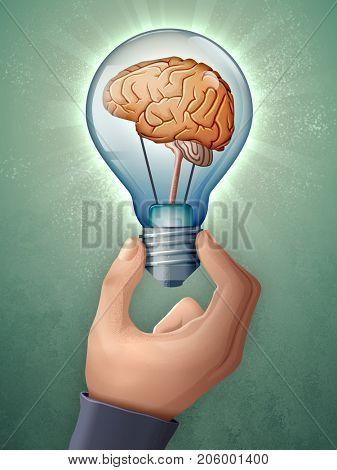 Human brain inside a lightbulb. Digital illustration.