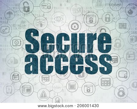 Security concept: Painted blue text Secure Access on Digital Data Paper background with  Scheme Of Hand Drawn Security Icons