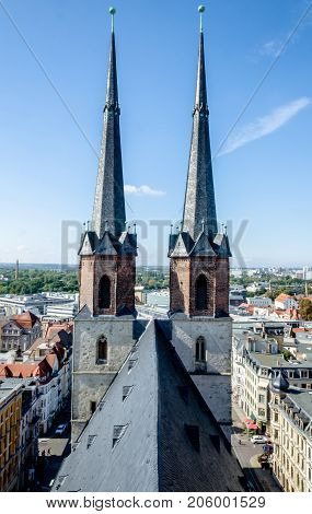 Market Curch Towers Halle Saale