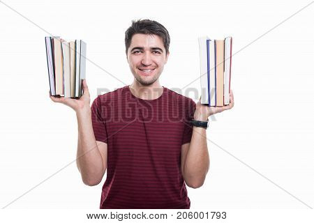 Handsome Student Holding Some Books In Both Hands