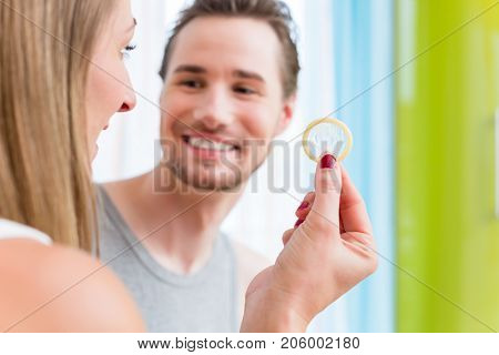 Lovers, woman and man, talking about birth control family planning and STD