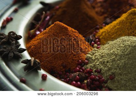 Close-up of spices powder in plate
