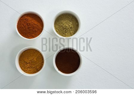 Overhead of spices powder in bowl on white background
