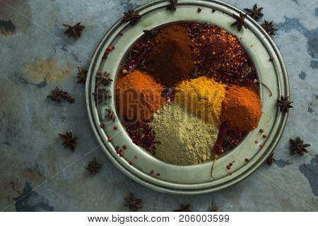 Overhead of spices powder in plate