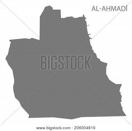 Al-ahmadi Province Map Of Kuwait Grey Illustration Silhouette Shape