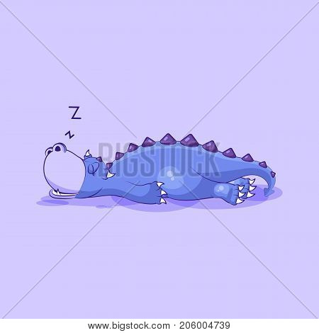Vector Stock Illustration isolated Emoji character cartoon dragon dinosaur sleeps on the stomach sticker emoticon for site, info graphics, video, animation, websites, mail, newsletters, reports, comic