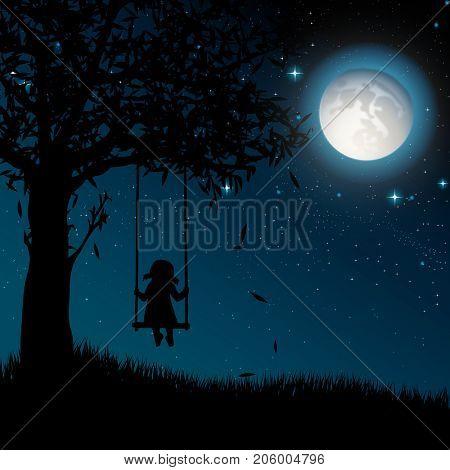 Silhouette of girl on swing. Night