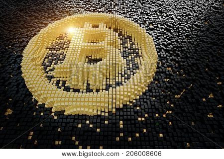 Symbol bitcoin from golden small cubes, towering above the background of black small cubes. 3D rendering.