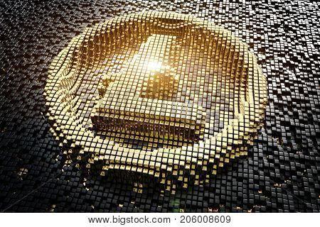 Symbol litecoin from golden small cubes, towering above the background of black small cubes. 3D rendering.