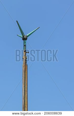 direct strike lightning protection stud with clear sky background