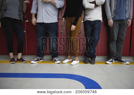 People Waiting Relax on Hallway During Break Time