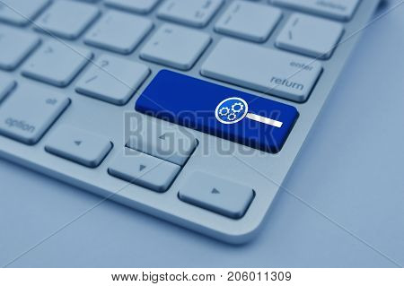 seo flat icon on modern computer keyboard button Search engine optimization concept