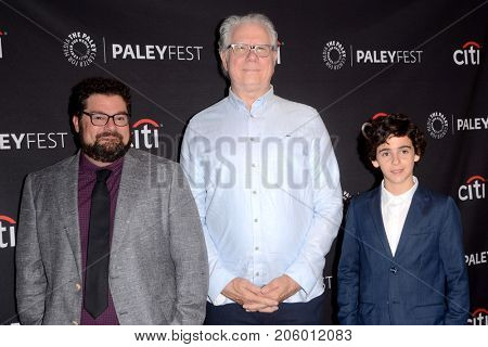 LOS ANGELES - SEP 12:  Bobby Moynihan, John Larroquette, Jack Dylan Grazer at the CBS - Me, Myself and I PaleyFest Fall Preview at the Paley Center for Media on September 12, 2017 in Beverly Hills, CA