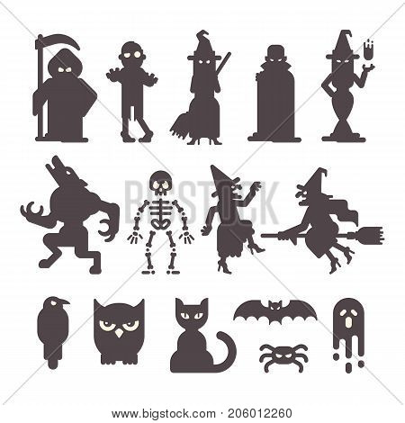 Set of Halloween character silhouettes. Halloween flat illustration. Grim reaper zombie witches vampire werewolf skeleton raven owl cat bat spider and ghost
