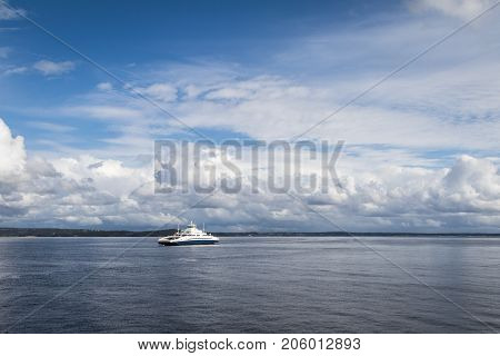 The Ferry from Horten to Moss connects Ostfold and Vestfold in Norway. Ferry crossing Oslofjord in september