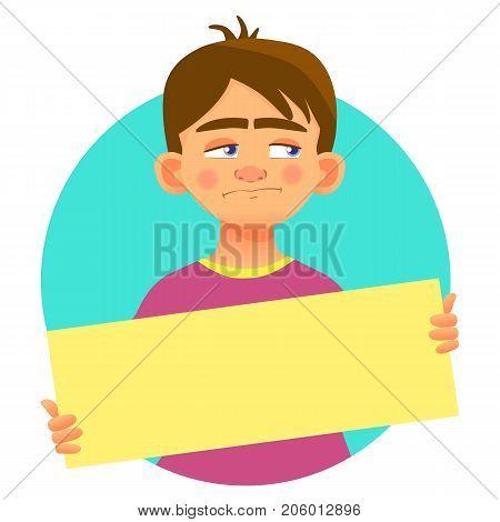 Sad boy holding blank poster. Blank message illustration. Hands holding blank paper