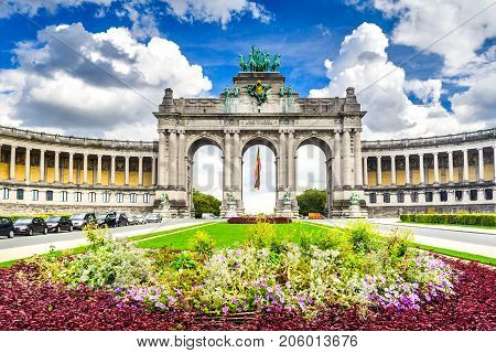 Brussels Belgium. Parc du Cinquantenaire with the Arch built for Beglian independence in Bruxelles.