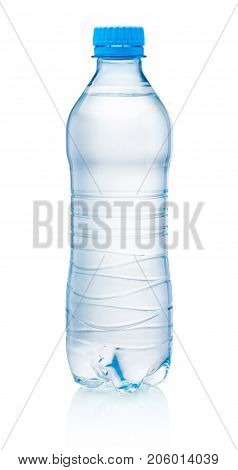 Plastic bottle of drinking water isolated on white background