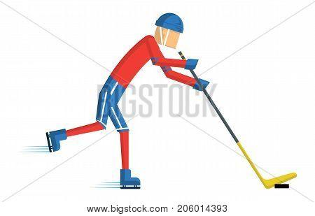 Hockey player. cartoon sport action Vector illustration