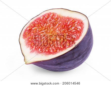 Fig isolated on white background. Food, Ingredient, Diet, Slice, Sweet, Juicy, Ripe, Cut,