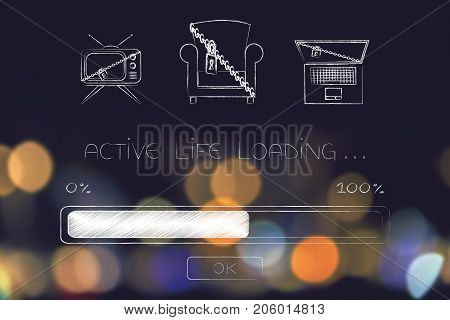 active life loading: progress bar with lock and chain on a couch tv and laptop