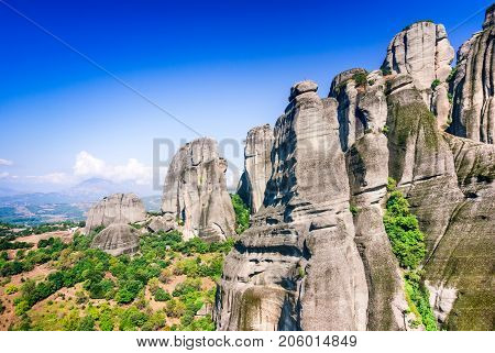 Meteora Greece. Mountain scenery with Meteora rocks landscape place of monasteries on the rock orthodox religious greek landmark in Thessaly