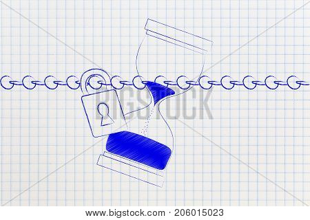 Hourglass Protected By A Chain With Lock