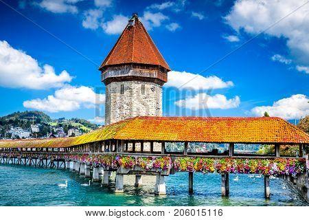 Lucerne Switzerland - Famous wooden Chapel Bridge oldest wooden covered bridge in Europe. Luzern Lucerna in Swiss country.