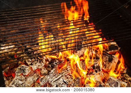 Burning logs in fire covered by grid on top, horisontal cast iron grill and burning flame from hot woods, comfortable warm place, decoration in house interior