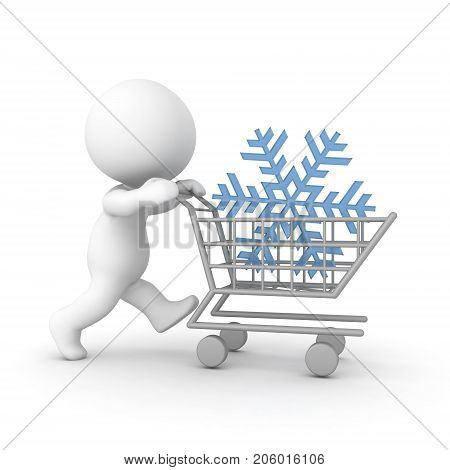 3D Character pushing a shopping cart with a snowflake. Isolated on white.