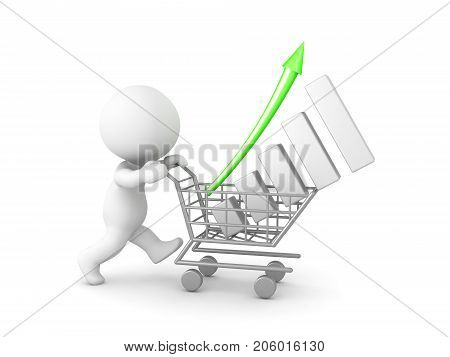 3D Character pushing a shopping cart with a financial graph in it. Isolated on white.