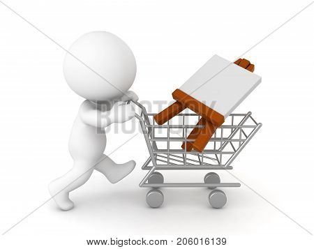 3D Character buying an easel. Isolated on white.