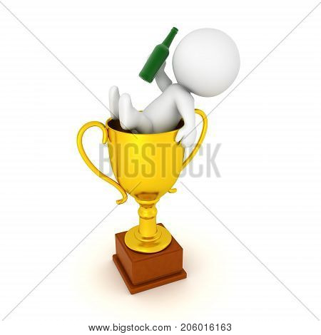 3D Character celebrating inside of a golden trophy. Isolated on white.