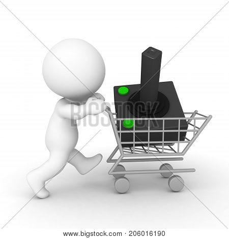 3D Character pushing a shopping cart carrying a joystick. Isolated on white.