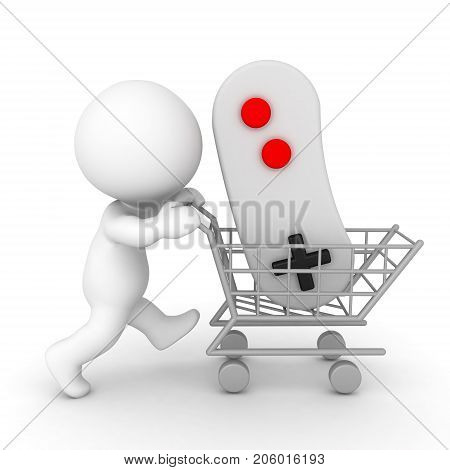 3D Character pushing shopping cart holding video game controller. Isolated on white.